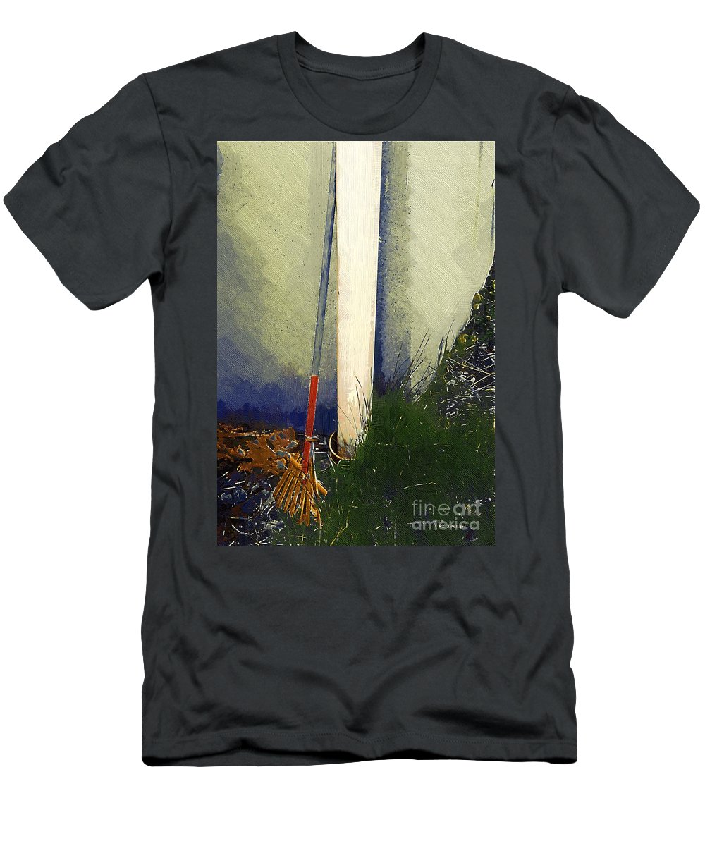 Rake Men's T-Shirt (Athletic Fit) featuring the painting My Old Rake by RC DeWinter
