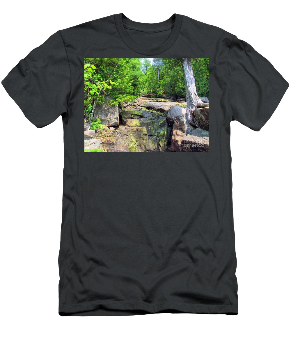 Water Fall Men's T-Shirt (Athletic Fit) featuring the photograph Mystery Bridge by Elizabeth Dow