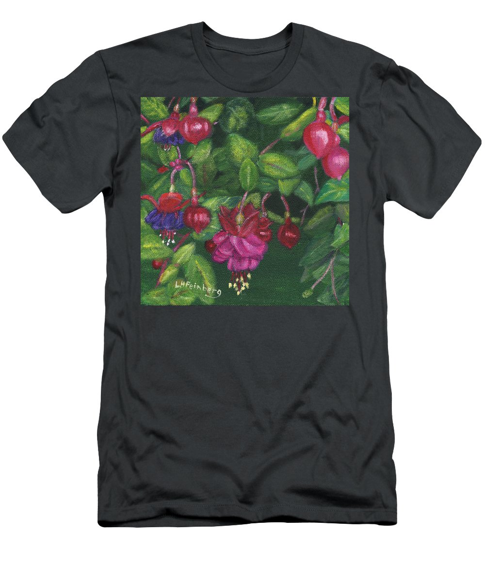 Flowers Men's T-Shirt (Athletic Fit) featuring the painting Nancy's Fuchsias by Linda Feinberg