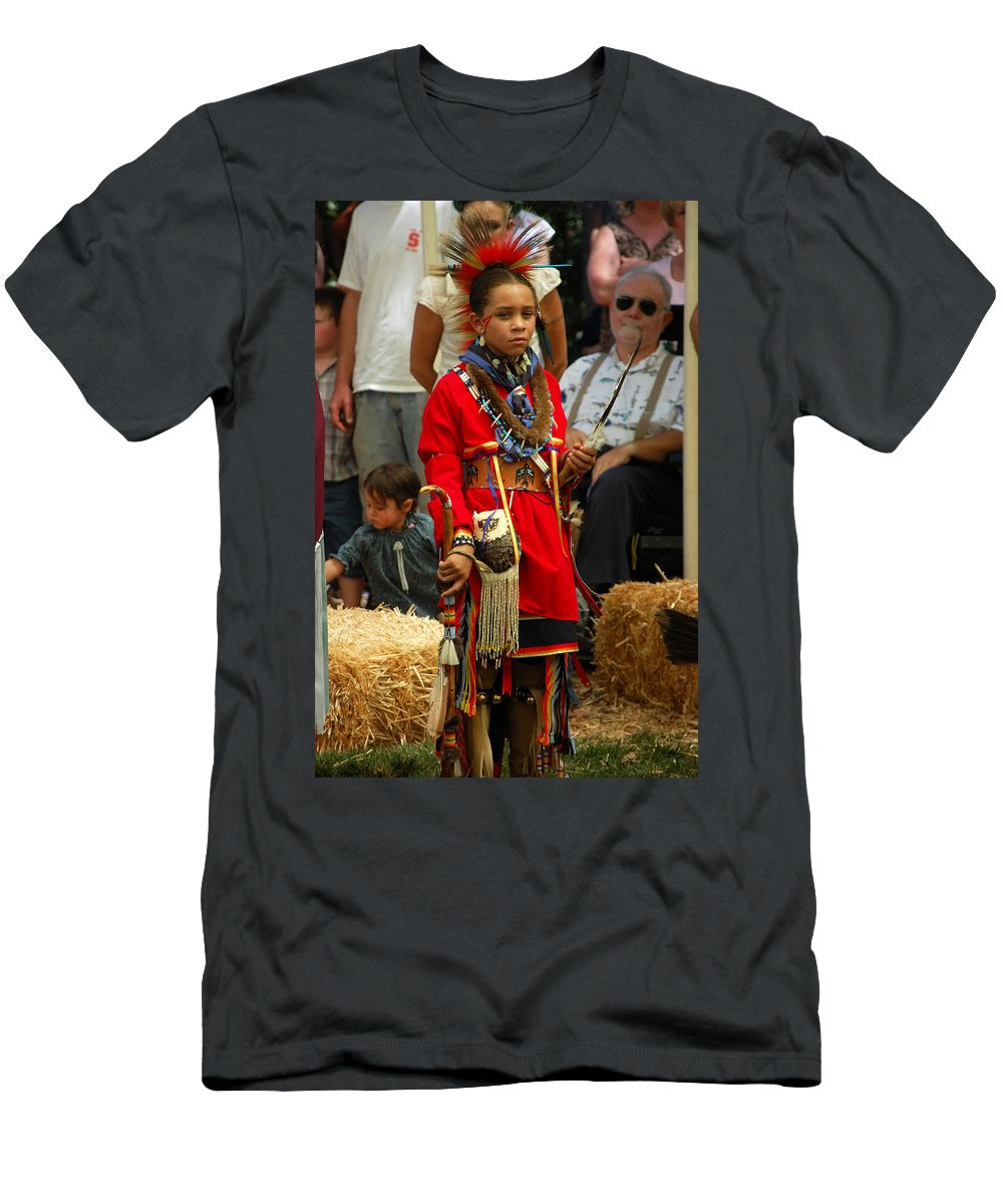 Child Men's T-Shirt (Athletic Fit) featuring the photograph Native American Youth Dancer by Holly Blunkall