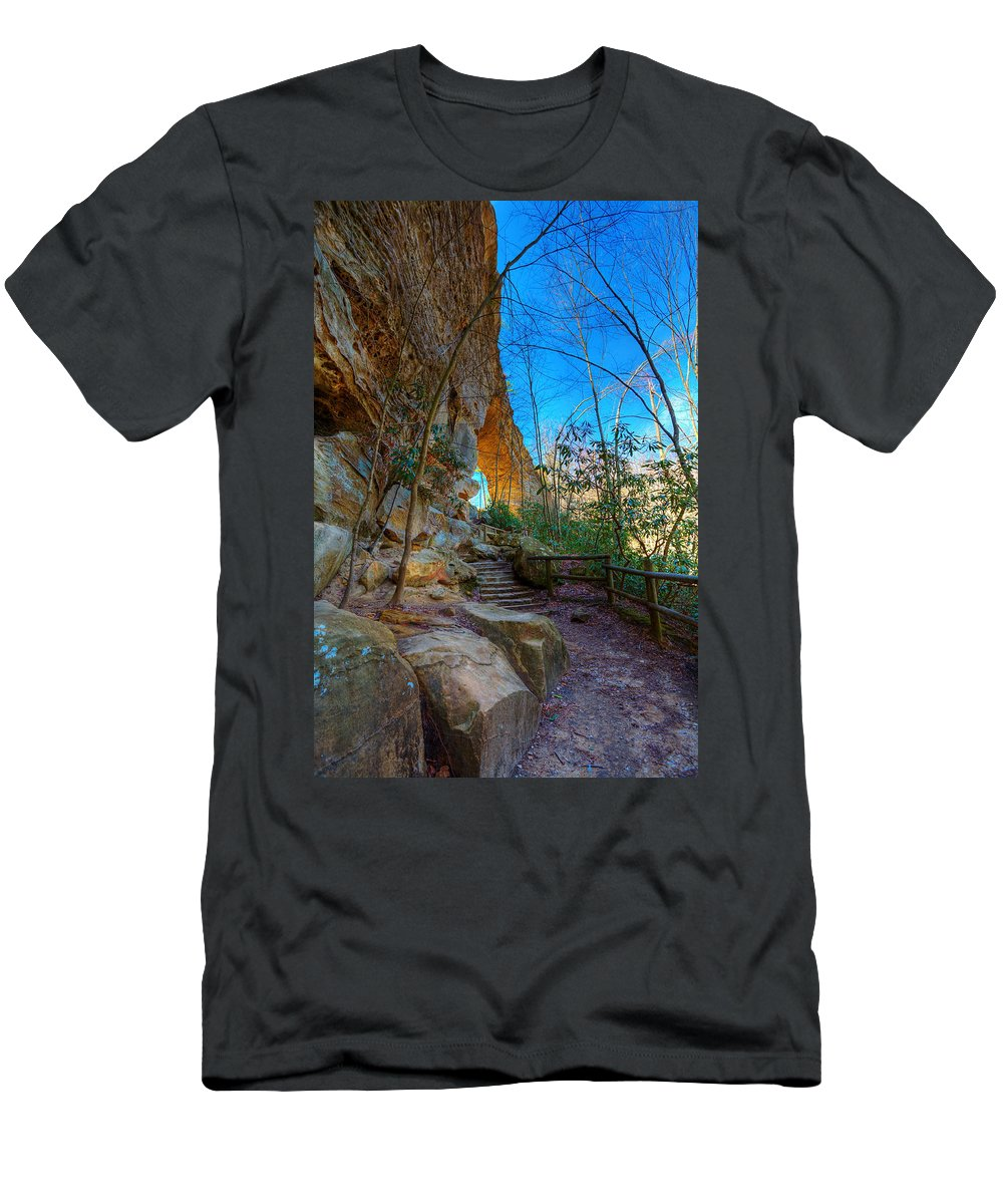 Natural Bridge Men's T-Shirt (Athletic Fit) featuring the photograph Natural Bridge by Alexey Stiop