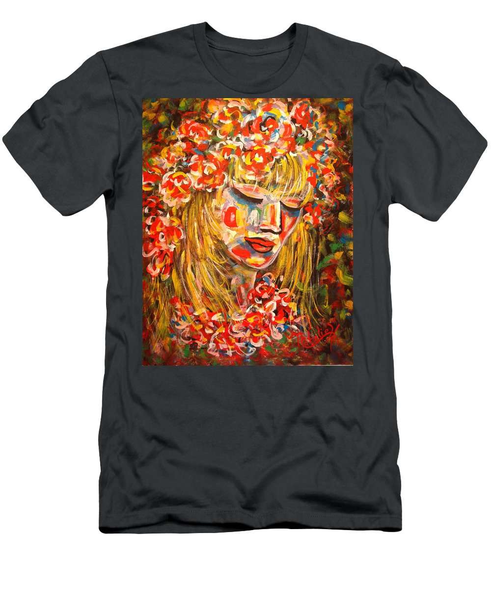 Girl Men's T-Shirt (Athletic Fit) featuring the painting Nature Girl by Natalie Holland