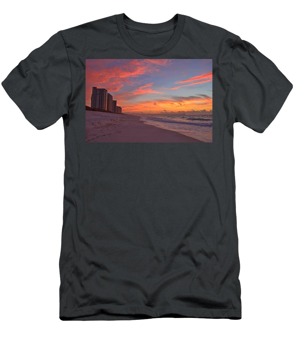 Navarre Pier Men's T-Shirt (Athletic Fit) featuring the photograph Navarre Pier And Navarre Beach Skyline At Twilight by Jeff at JSJ Photography