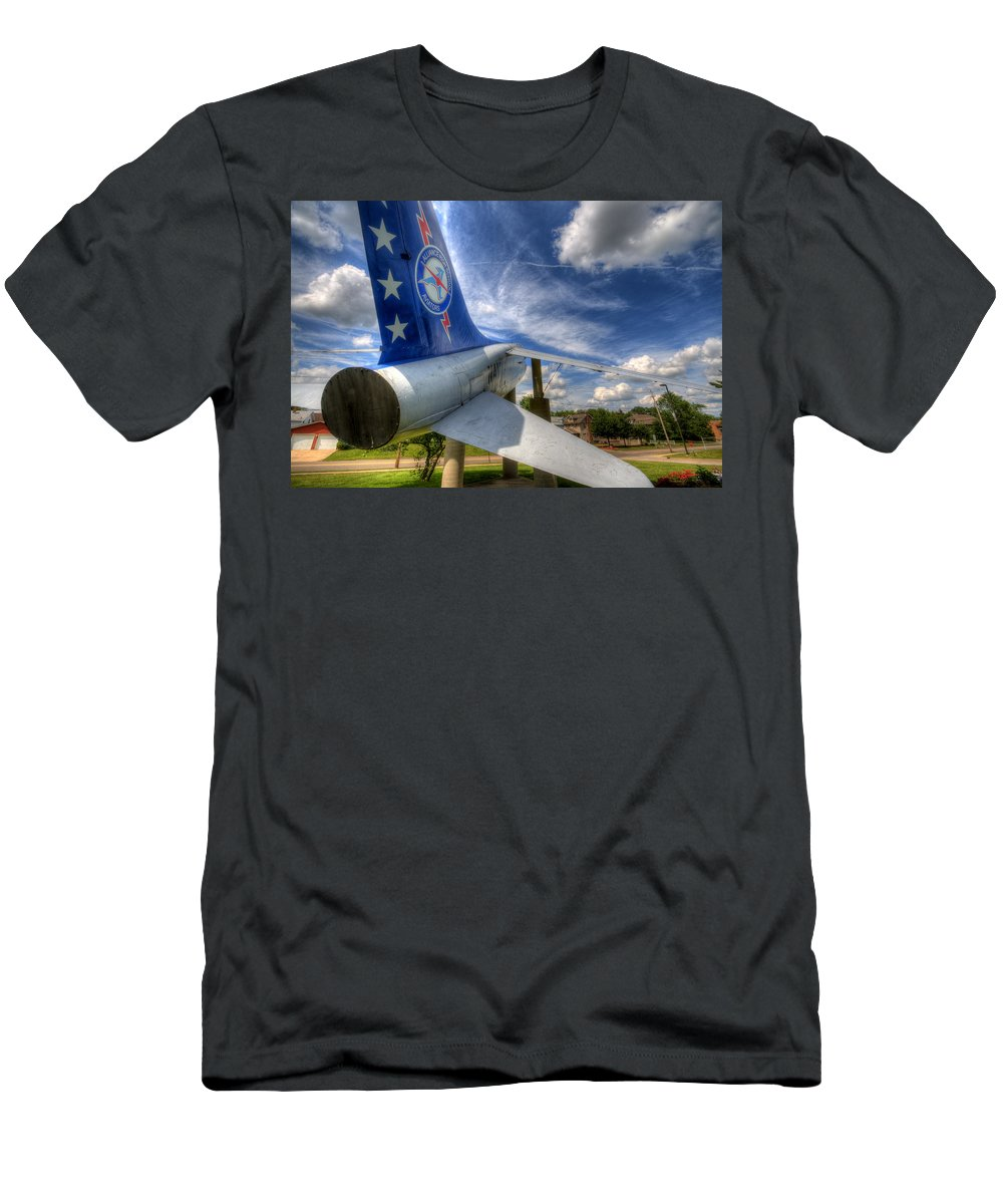 Navy Men's T-Shirt (Athletic Fit) featuring the photograph Navy A-7 Fighter Static Display by David Dufresne