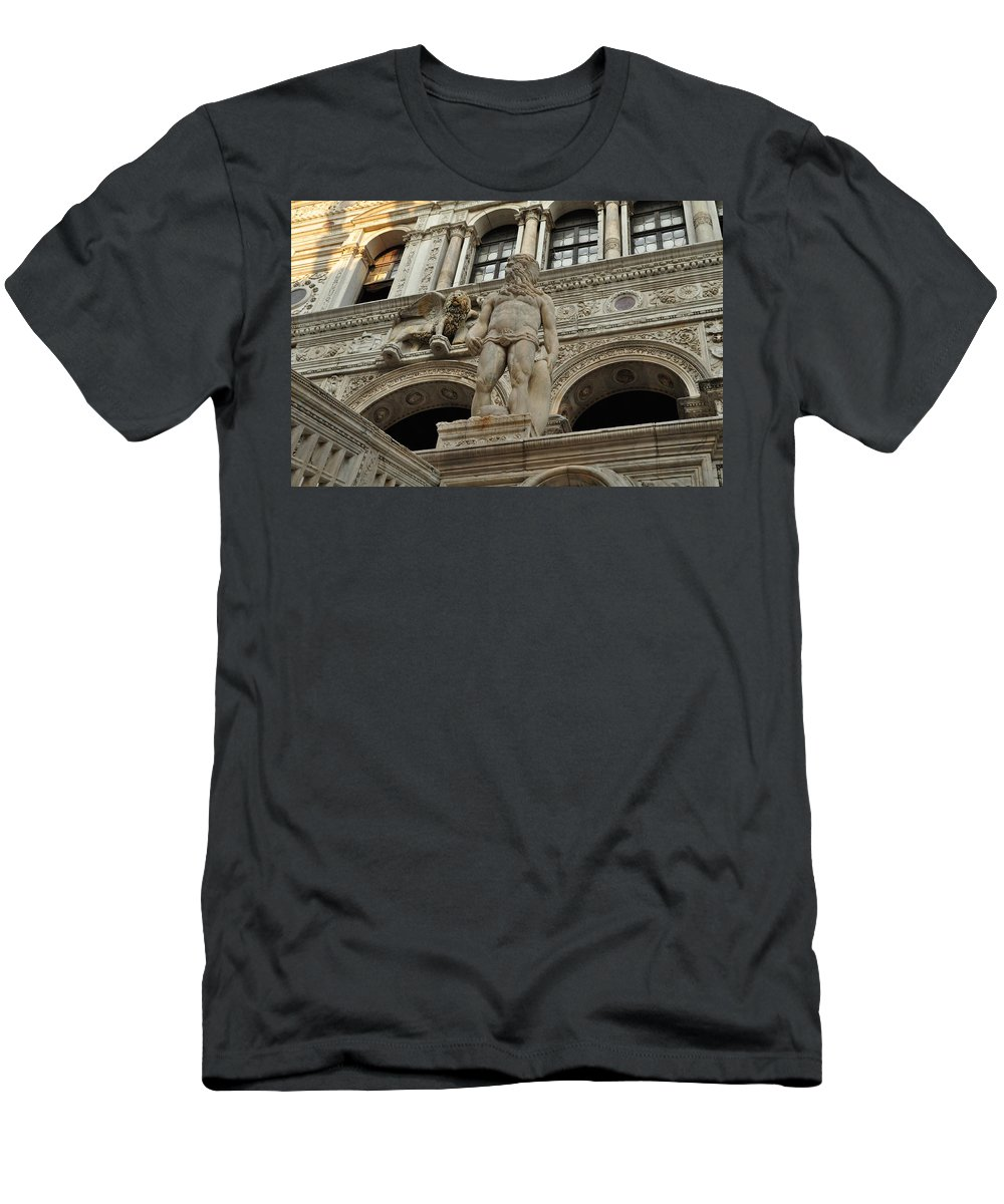 Neptune Men's T-Shirt (Athletic Fit) featuring the photograph Neptune And The Lion Atop The Giants Staircase by Karen Maxwell