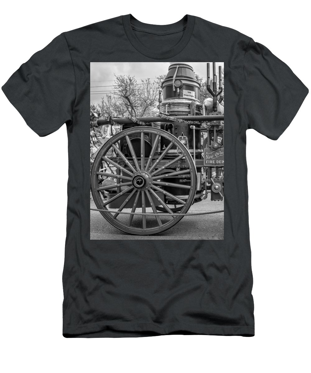 Nola Men's T-Shirt (Athletic Fit) featuring the photograph New Orleans Fire Department 1896 Bw by Steve Harrington