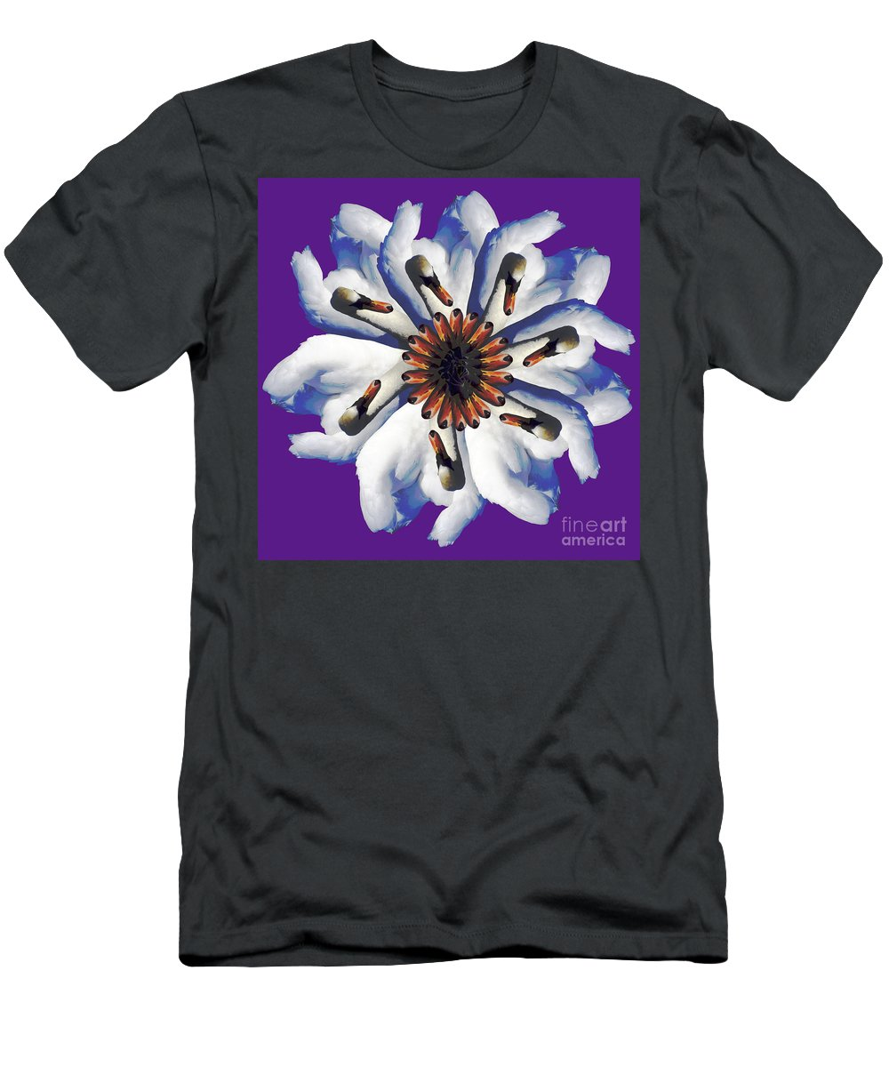 Purple Men's T-Shirt (Athletic Fit) featuring the photograph New Photographic Art Print For Sale Pop Art Swan Flower On Purple by Toula Mavridou-Messer