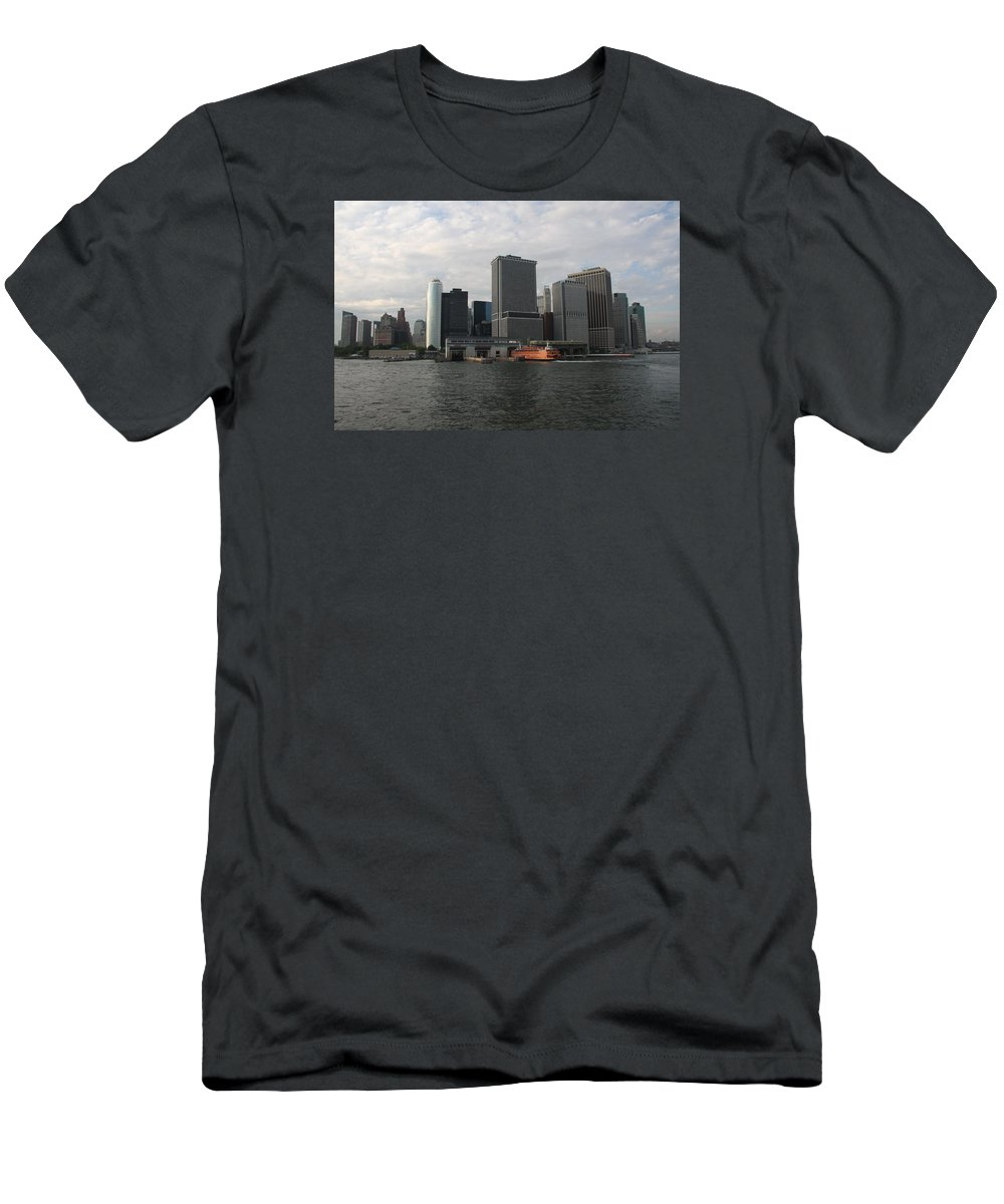 New York Men's T-Shirt (Athletic Fit) featuring the photograph New York And Staaten Island Ferry by Christiane Schulze Art And Photography