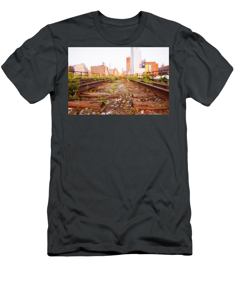 Nyc Men's T-Shirt (Athletic Fit) featuring the photograph New York City - Abandoned Railroad Tracks by Vivienne Gucwa