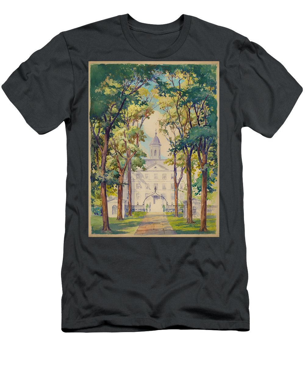 New York City Men's T-Shirt (Athletic Fit) featuring the painting New York City Hospital by Mountain Dreams