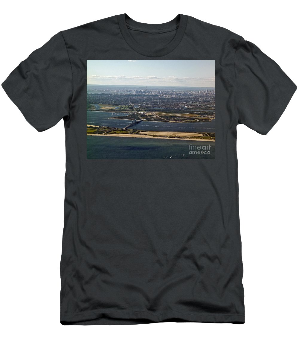 Aerial Men's T-Shirt (Athletic Fit) featuring the photograph New York City by Howard Stapleton
