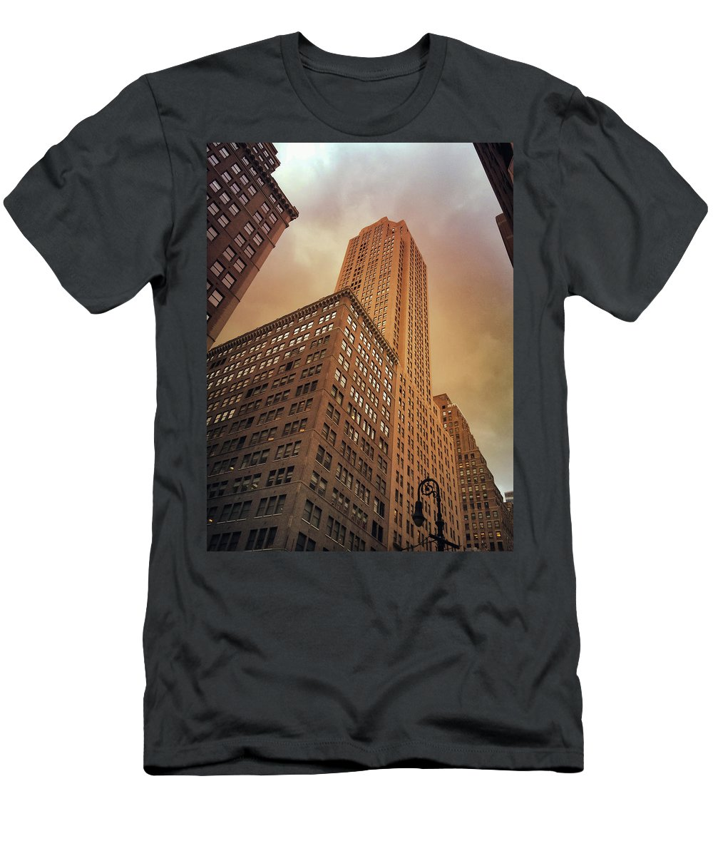 Nyc Men's T-Shirt (Athletic Fit) featuring the photograph New York City - Skyscraper And Storm Clouds by Vivienne Gucwa