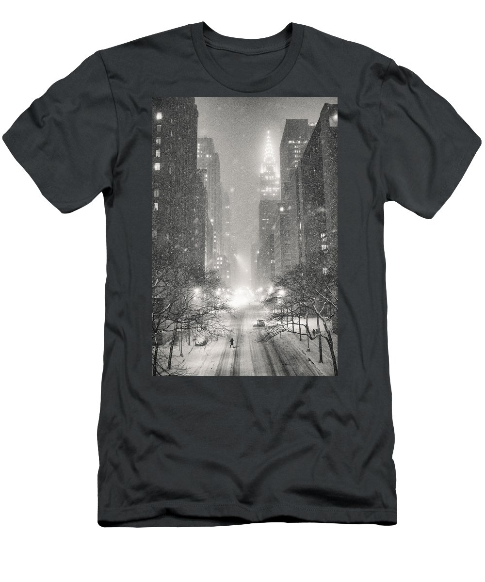 Nyc T-Shirt featuring the photograph New York City - Winter Night Overlooking the Chrysler Building by Vivienne Gucwa