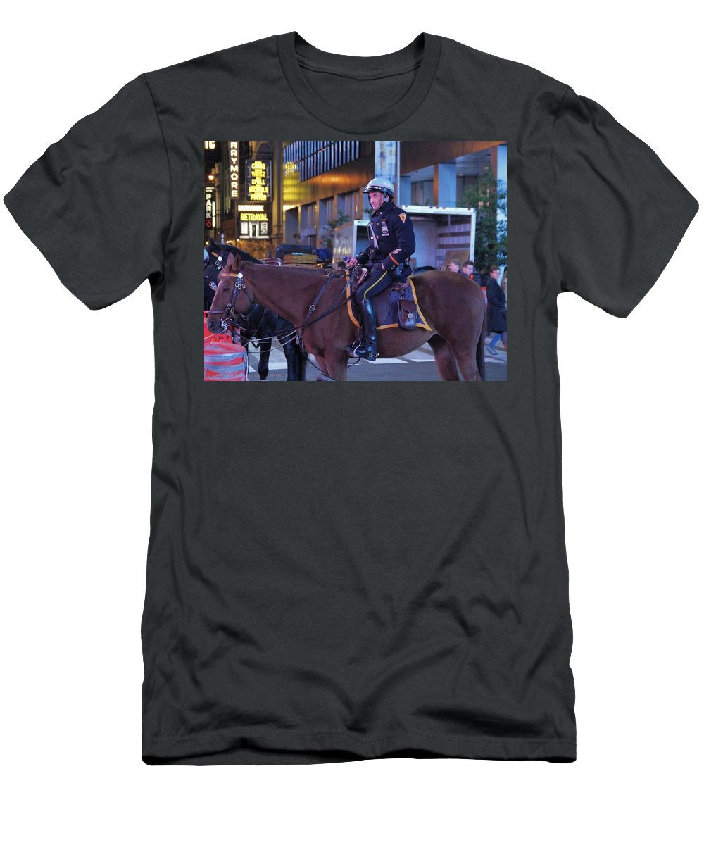 New York Police Department Men's T-Shirt (Athletic Fit) featuring the photograph New York Police Department by Dan Sproul