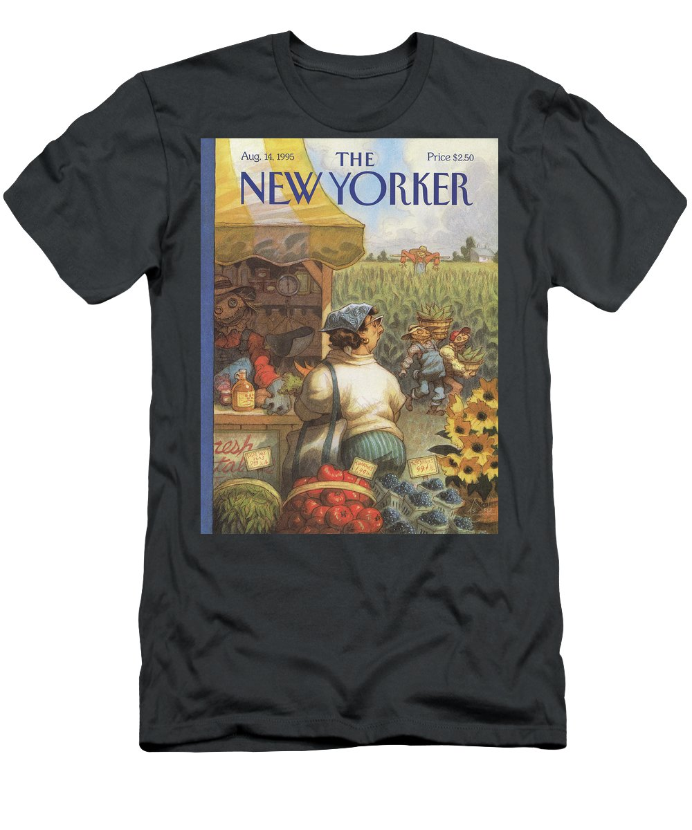 Bumper Crop Men's T-Shirt (Athletic Fit) featuring the painting New Yorker August 14th, 1995 by Peter de Seve