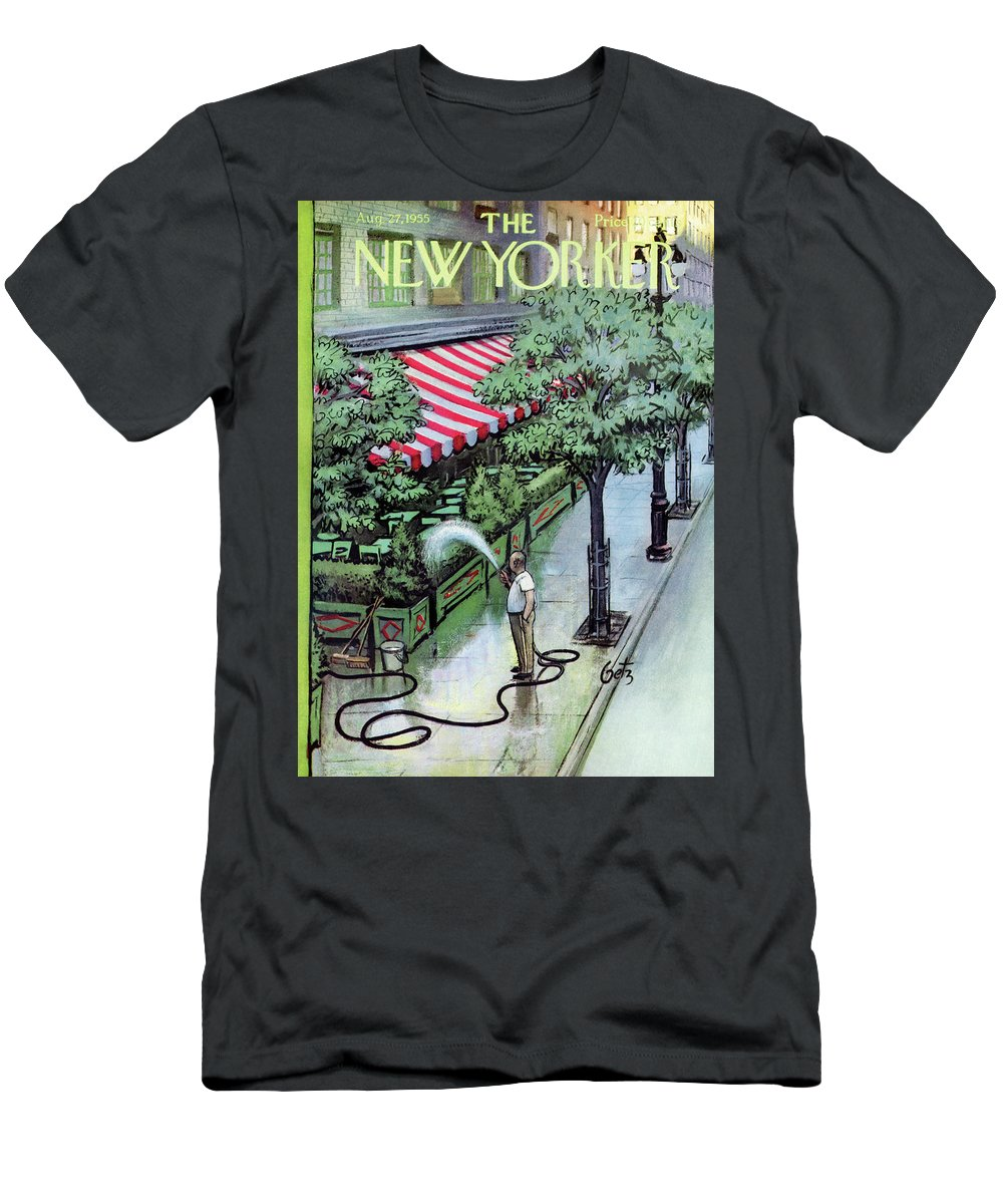 Restaurant Men's T-Shirt (Athletic Fit) featuring the painting New Yorker August 27th, 1955 by Arthur Getz