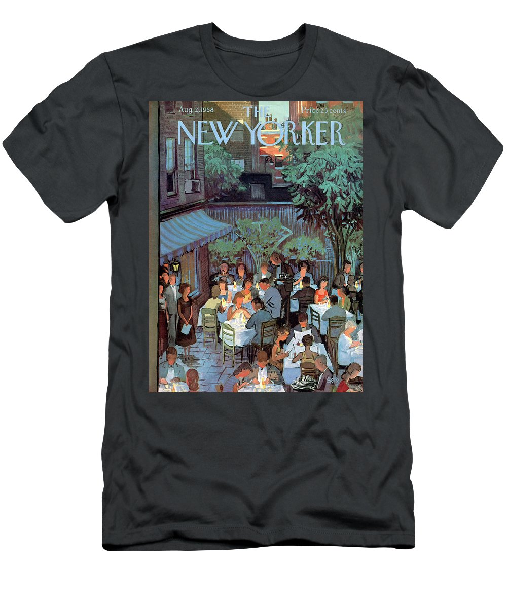Arthur Getz Agt Men's T-Shirt (Athletic Fit) featuring the painting New Yorker August 2nd, 1958 by Arthur Getz