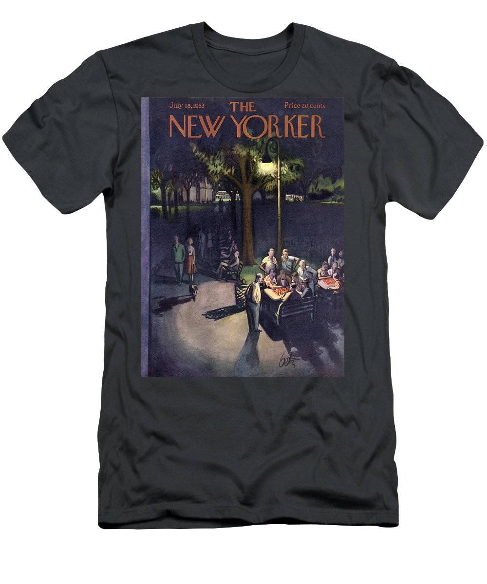 Urban Men's T-Shirt (Athletic Fit) featuring the painting New Yorker July 18th, 1953 by Arthur Getz