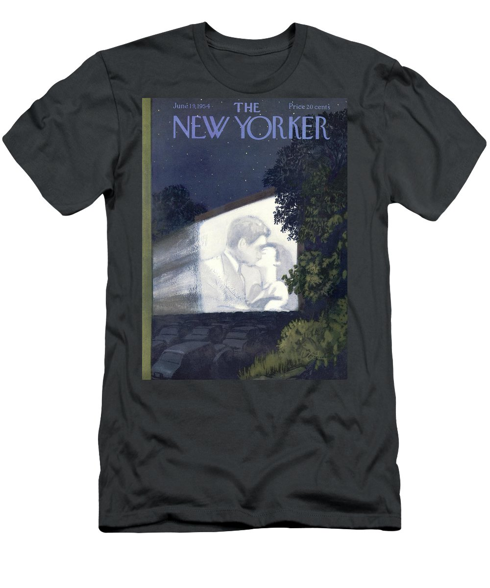 Movies T-Shirt featuring the painting New Yorker June 19th, 1954 by Arthur Getz