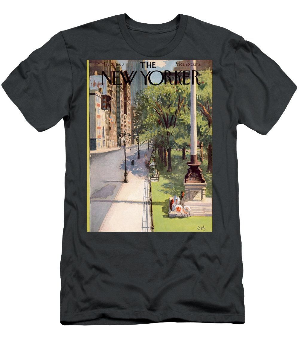 Arthur Getz Agt Men's T-Shirt (Athletic Fit) featuring the painting New Yorker May 31st, 1958 by Arthur Getz