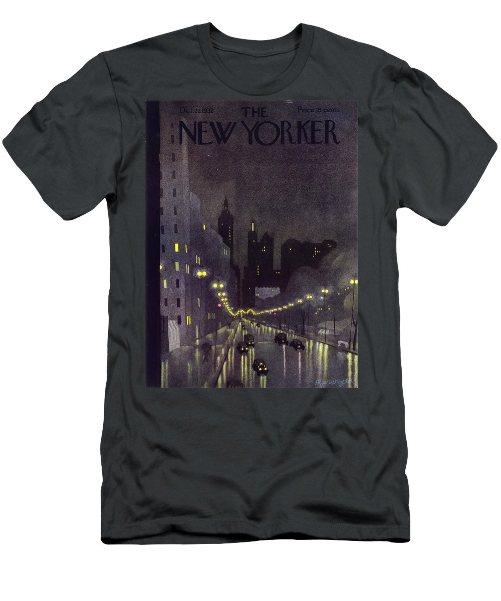 Illustration Men's T-Shirt (Athletic Fit) featuring the painting New Yorker October 29 1932 by Arthur K. Kronengold