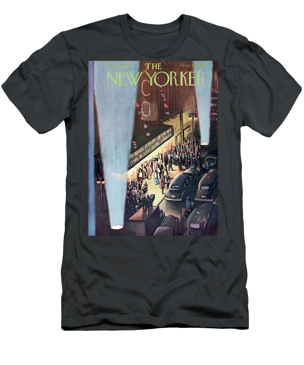 Urban Men's T-Shirt (Athletic Fit) featuring the painting New Yorker September 26th, 1953 by Arthur Getz