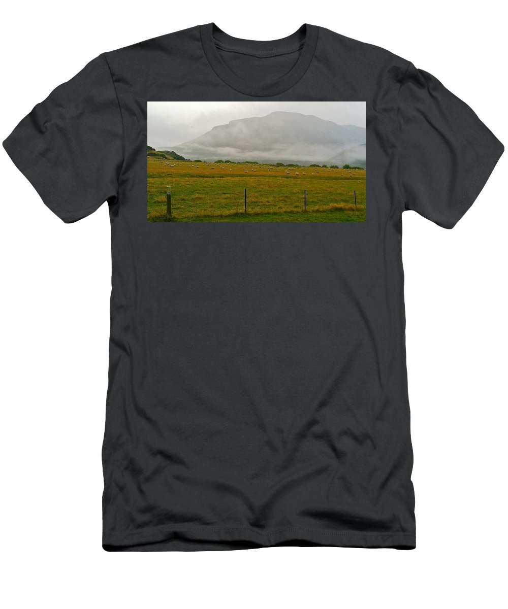 New Zealand Men's T-Shirt (Athletic Fit) featuring the photograph New Zealand Sheep Farm by Stuart Litoff