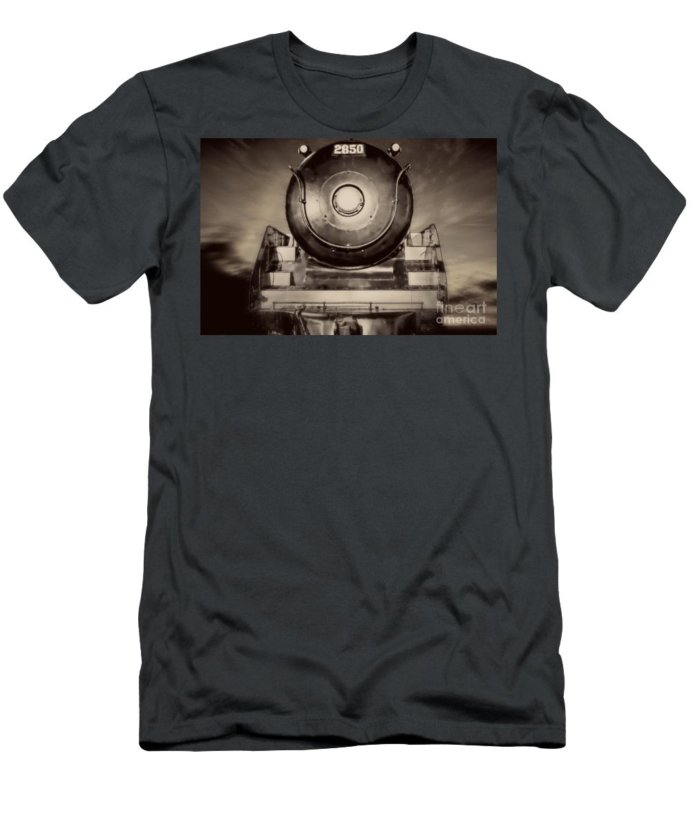 Train Men's T-Shirt (Athletic Fit) featuring the photograph Night Train by Edward Fielding