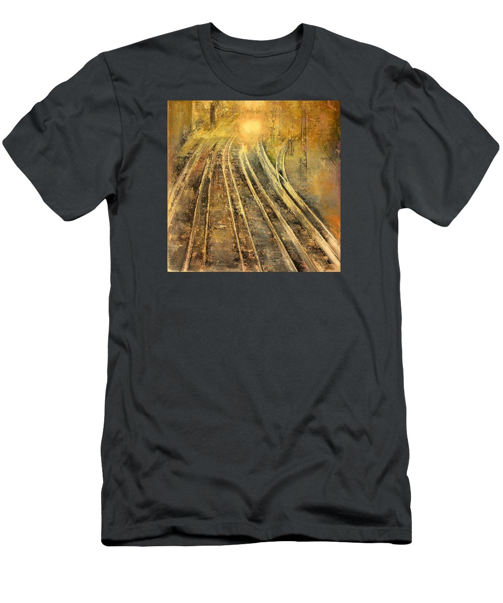 Night Train T-Shirt featuring the painting Night Train by Tomas Castano