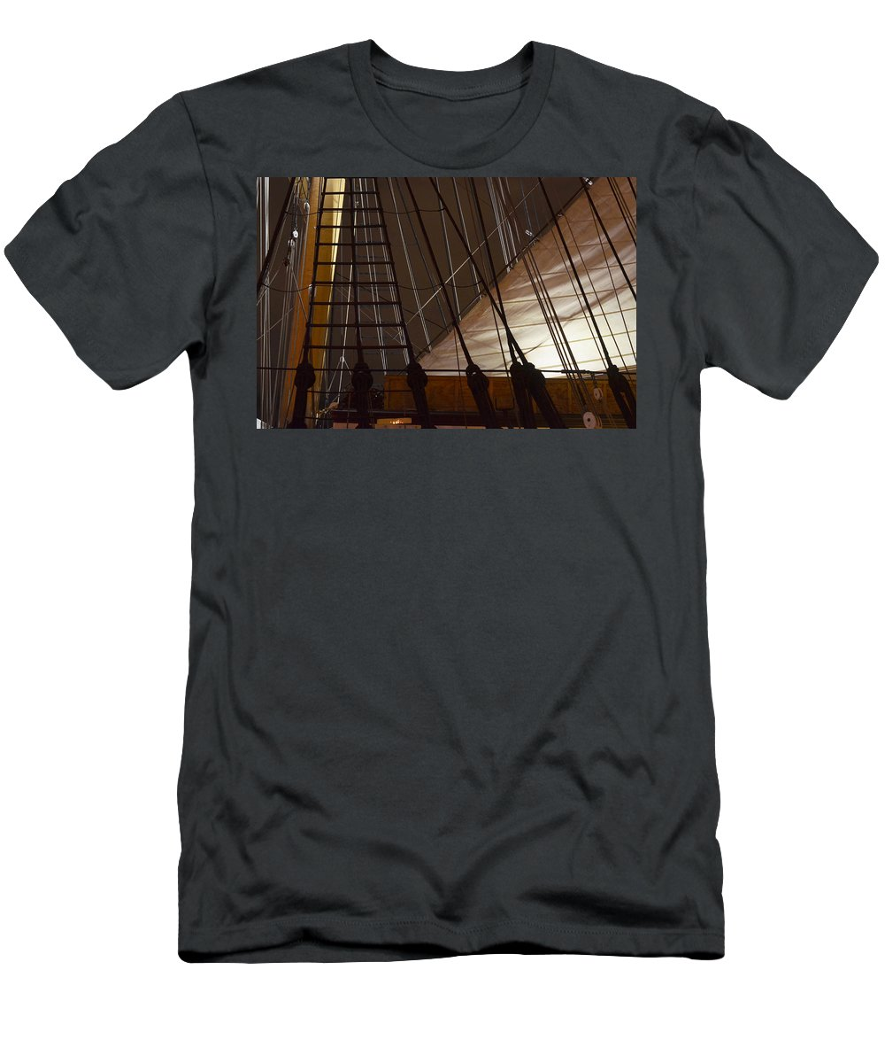 San Diego Men's T-Shirt (Athletic Fit) featuring the photograph Nightview Sails And Rigging by See My Photos