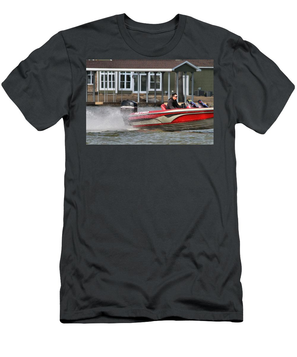 Boating On Indian Lake Men's T-Shirt (Athletic Fit) featuring the photograph Nitro Boat by Dan Sproul