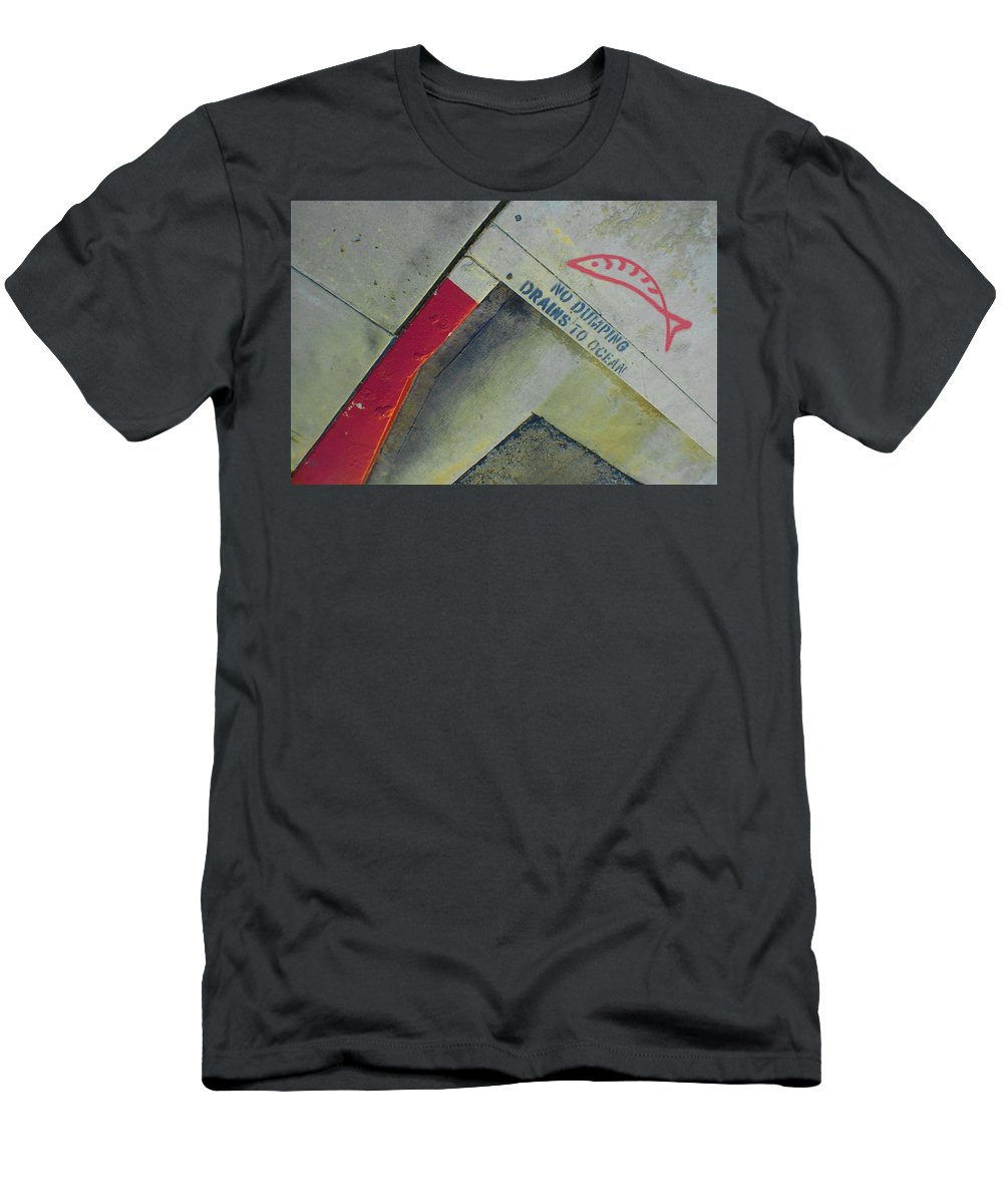 Urban Abstract Men's T-Shirt (Athletic Fit) featuring the photograph No Dumping - Drains To Ocean No 1 by Ben and Raisa Gertsberg