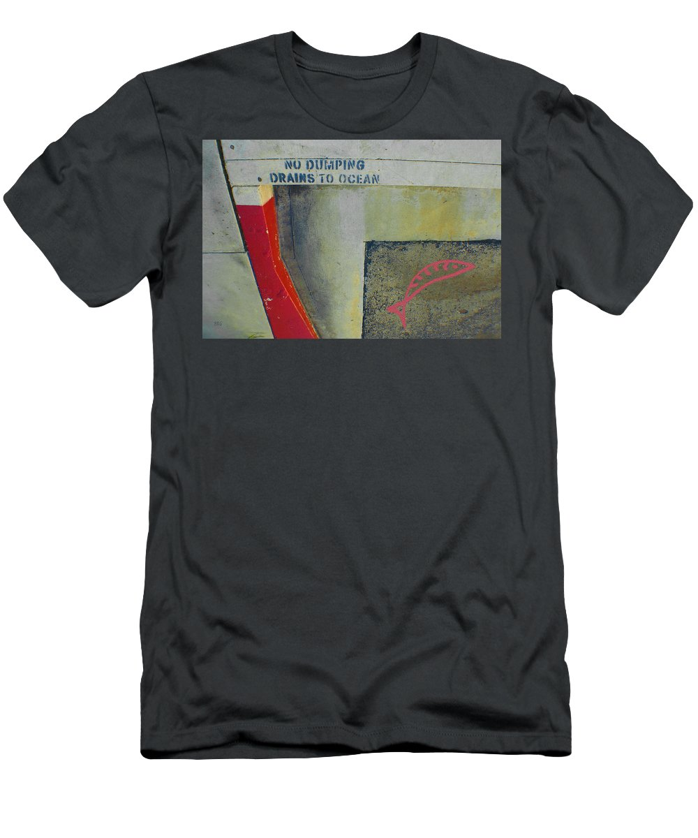 Urban Abstract Men's T-Shirt (Athletic Fit) featuring the photograph No Dumping - Drains To Ocean No 2 by Ben and Raisa Gertsberg