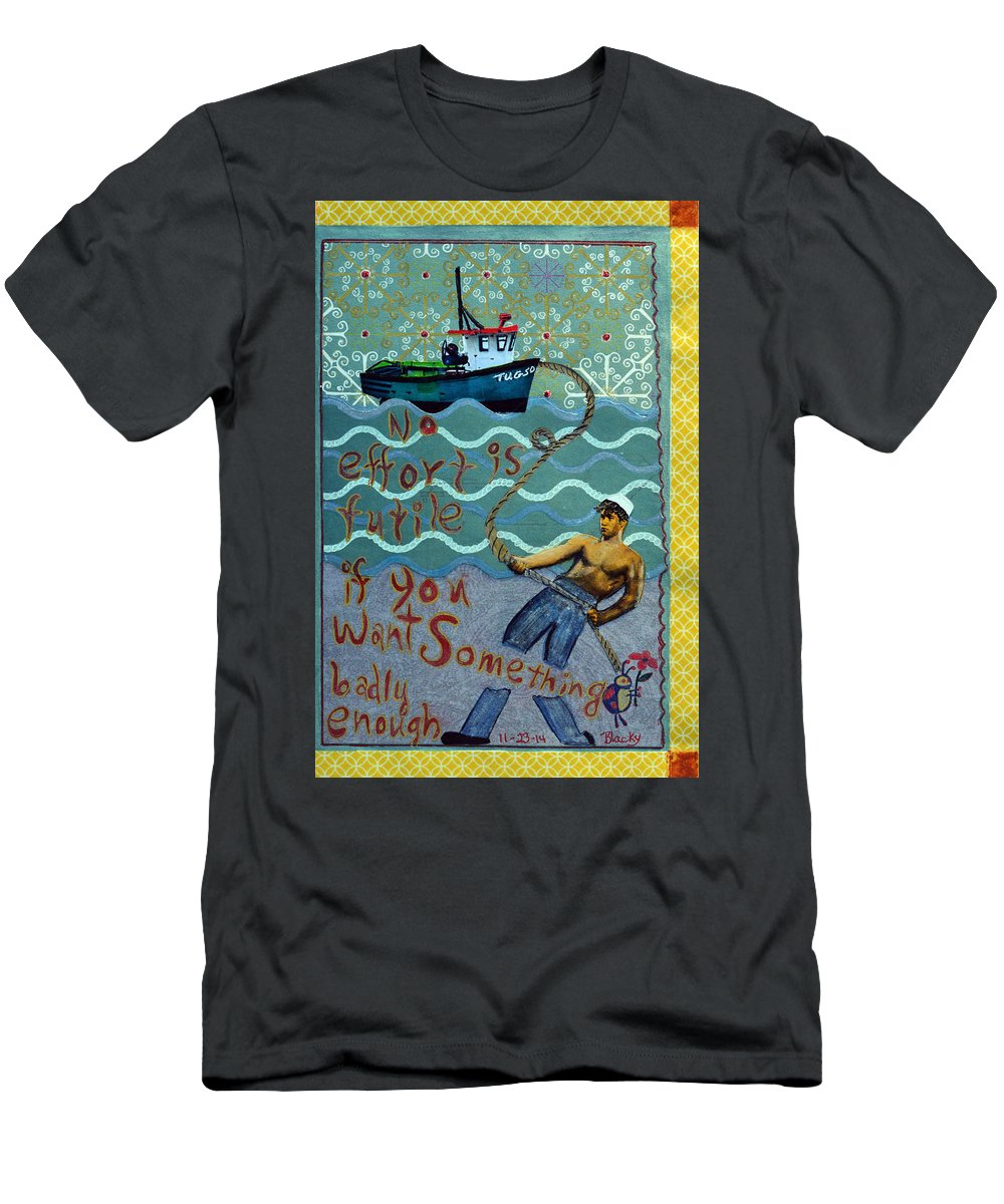 Tug Boat Men's T-Shirt (Athletic Fit) featuring the mixed media No Effort Is Futile by Donna Blackhall