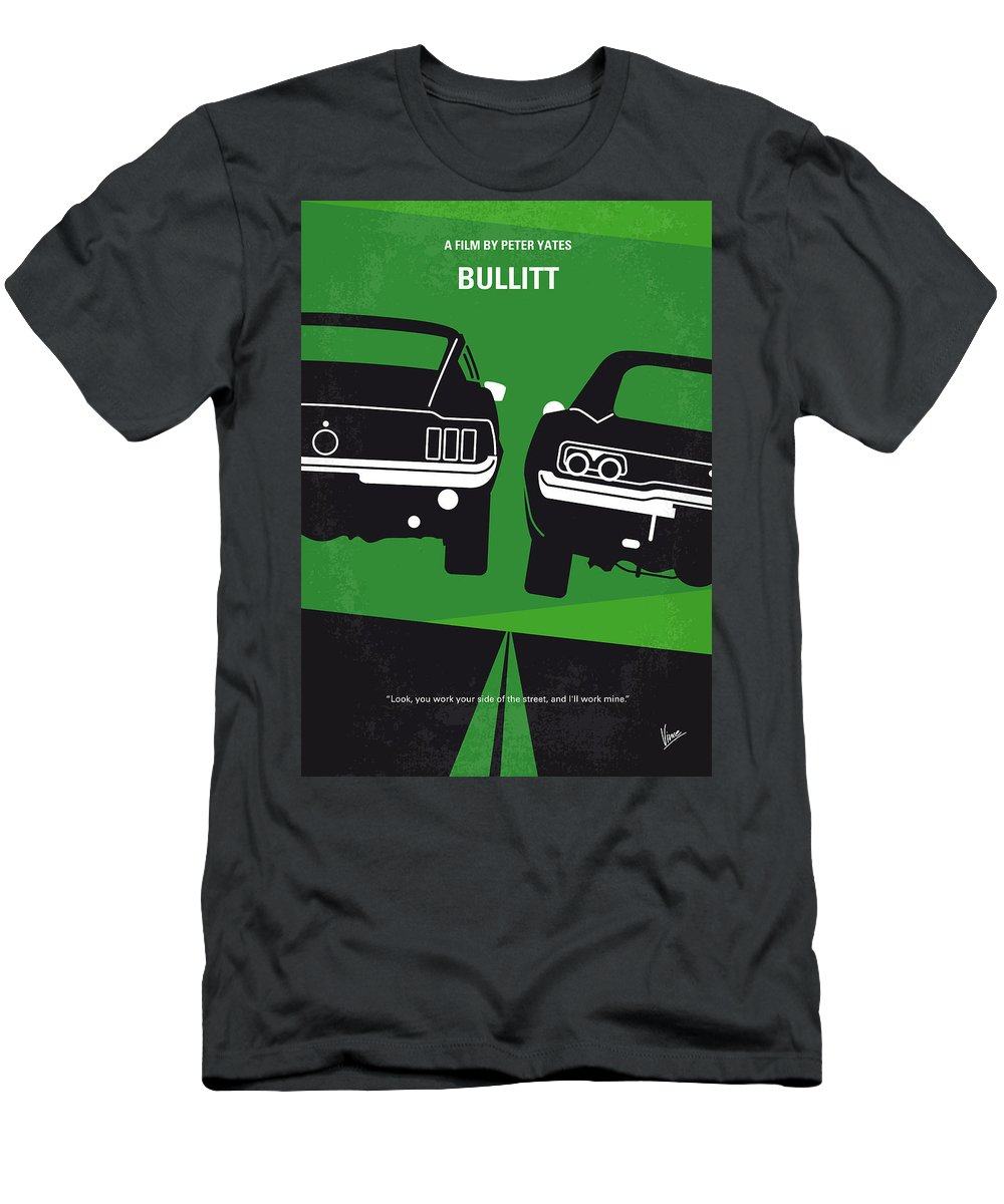 Frank T-Shirt featuring the digital art No214 My BULLITT minimal movie poster by Chungkong Art