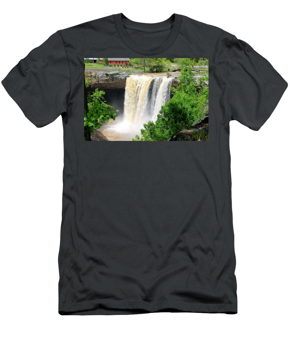 Noccalola Men's T-Shirt (Athletic Fit) featuring the photograph Noccalola Falls by Mary Koval