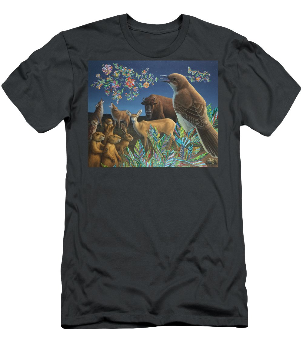 Mockingbird Men's T-Shirt (Athletic Fit) featuring the painting Nocturnal Cantata by James W Johnson