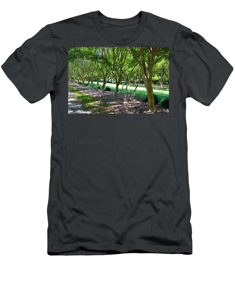 Favorite Spot In The Gardens Men's T-Shirt (Athletic Fit) featuring the painting Norfolk Botanical Garden 3 by Jeelan Clark