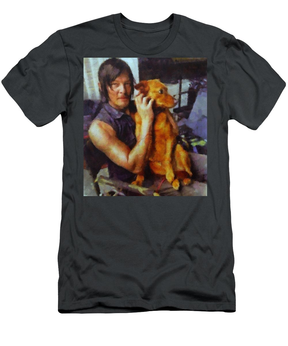 Norman Reedus Men's T-Shirt (Athletic Fit) featuring the painting Norman And Charlie by Janice MacLellan