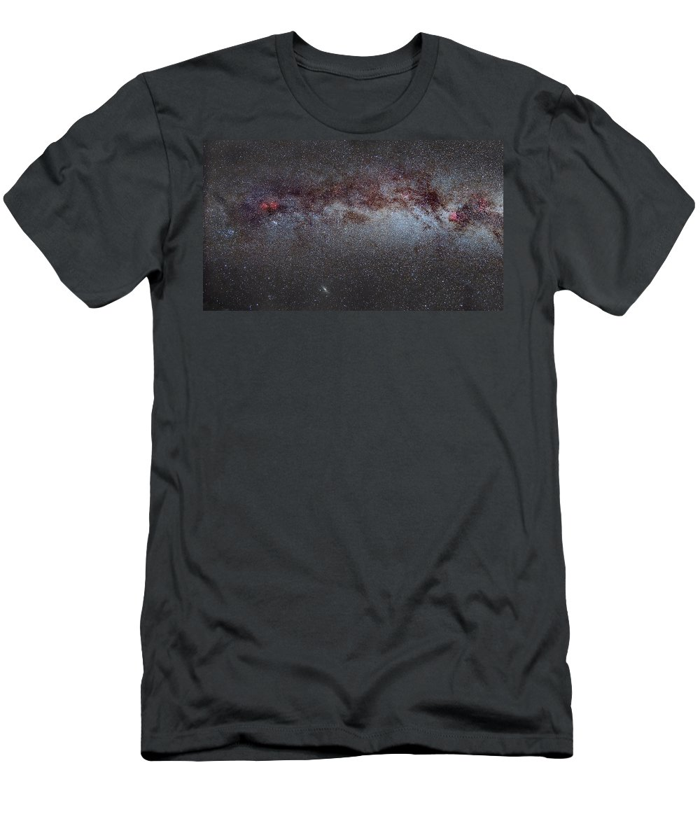 Landscapes Men's T-Shirt (Athletic Fit) featuring the photograph North America Nebula The Milky Way From Cygnus To Perseus And Andromeda Galaxy by Guido Montanes Castillo