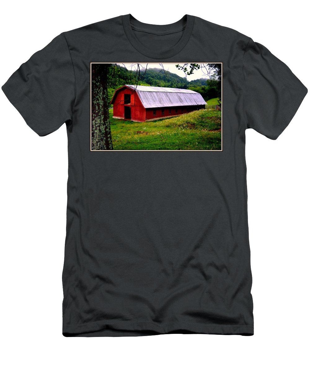 North Carolina Men's T-Shirt (Athletic Fit) featuring the photograph North Carolina Red Barn by Kathy Barney