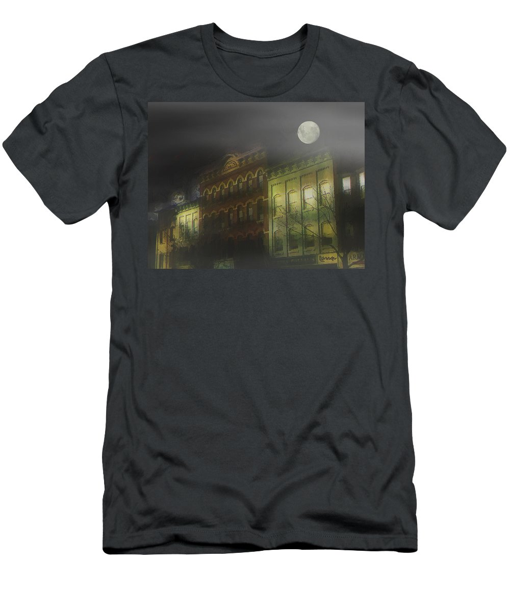 Cityscape Men's T-Shirt (Athletic Fit) featuring the painting Northampton By Moonlight by RC deWinter