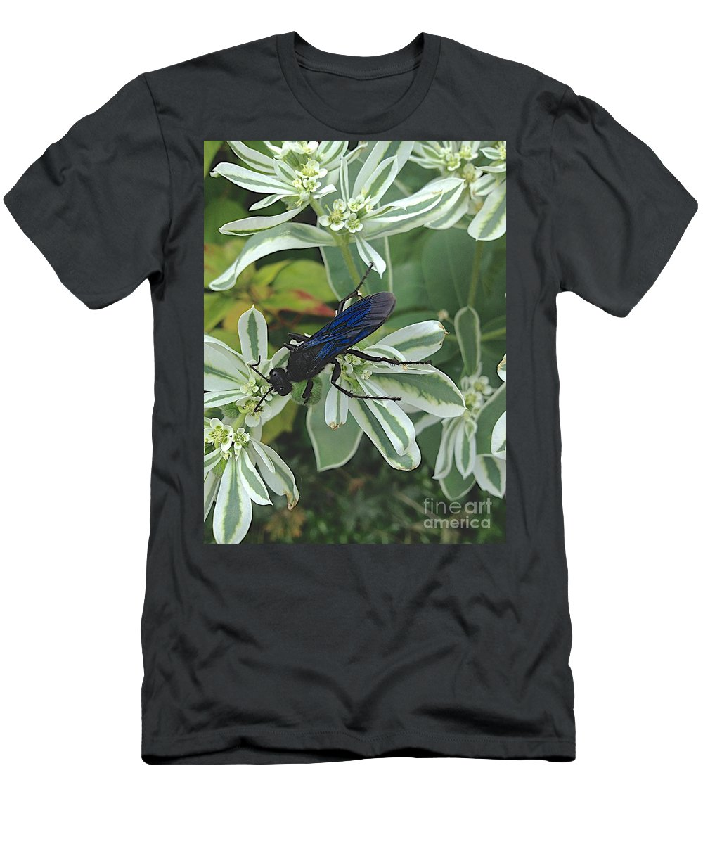 Blue Insect Men's T-Shirt (Athletic Fit) featuring the photograph Not Yet by Joseph Yarbrough