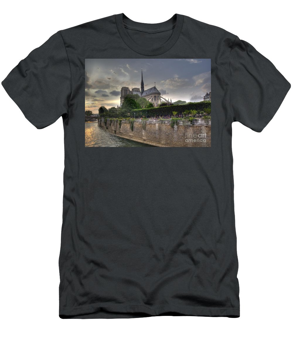 Europe Men's T-Shirt (Athletic Fit) featuring the photograph Notre Dame On The Seine by Crystal Nederman