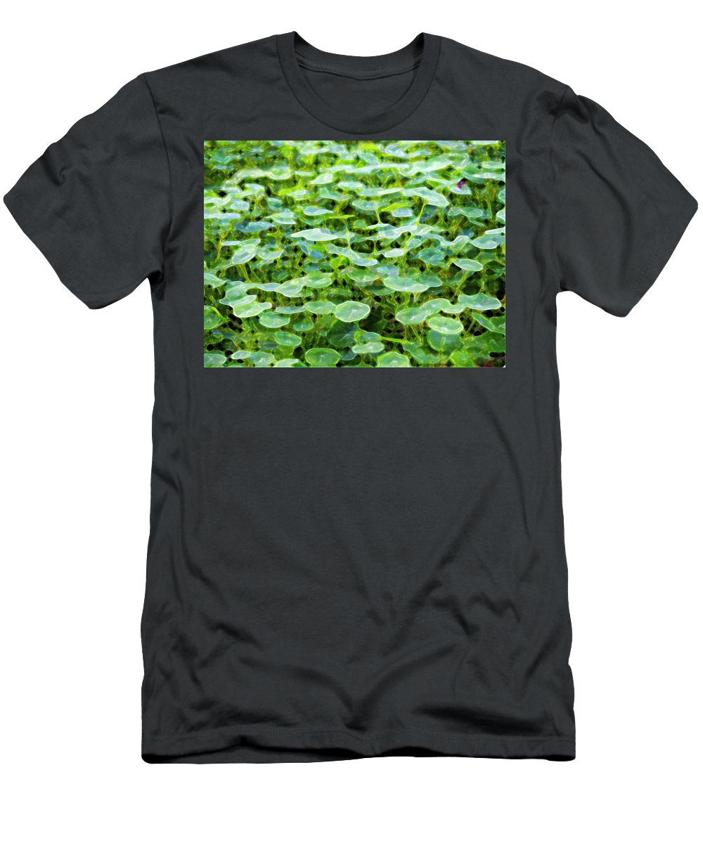 Green Men's T-Shirt (Athletic Fit) featuring the photograph Nuanced Nasturtium by Joe Schofield