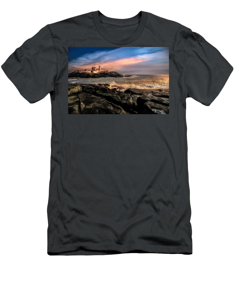 Nubble Men's T-Shirt (Athletic Fit) featuring the photograph Nubble Lighthouse Winter Solstice Sunset by Bob Orsillo