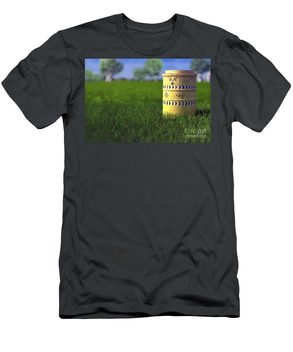 Barrel Men's T-Shirt (Athletic Fit) featuring the photograph Nuclear Waste by Science Picture Co