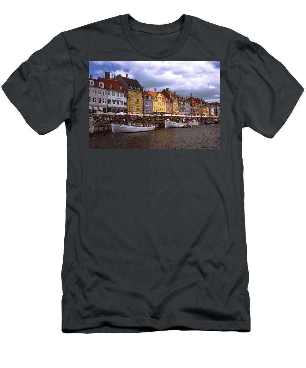 Canal Scene Men's T-Shirt (Athletic Fit) featuring the photograph Nyhavn Copenhagen by Sally Weigand