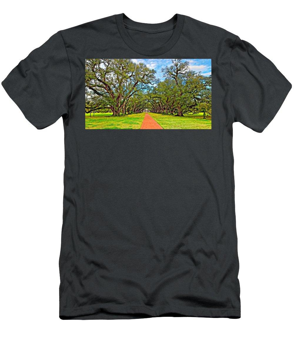Oak Alley Plantation Men's T-Shirt (Athletic Fit) featuring the photograph Oak Alley 3 Oil by Steve Harrington