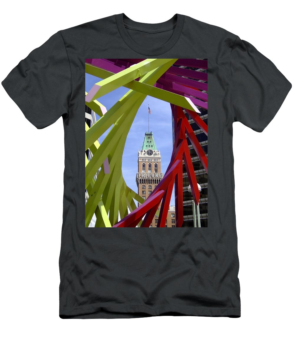 Oakland Men's T-Shirt (Athletic Fit) featuring the photograph Oakland Tribune by Donna Blackhall